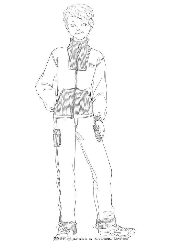服装设计素材 素材 服装 设计 男 男性 儿童 小孩 素描 动漫 动画