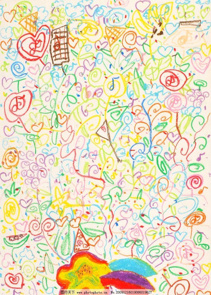 儿童画 彩色花朵 蜡笔画 心形 黄色 粉色 绿色 紫色 蓝色 绘画书法