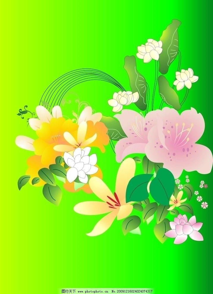 矢量图 荷花 月夜 池溏 荷叶 莲花 花纹 底纹 自然 风景图片