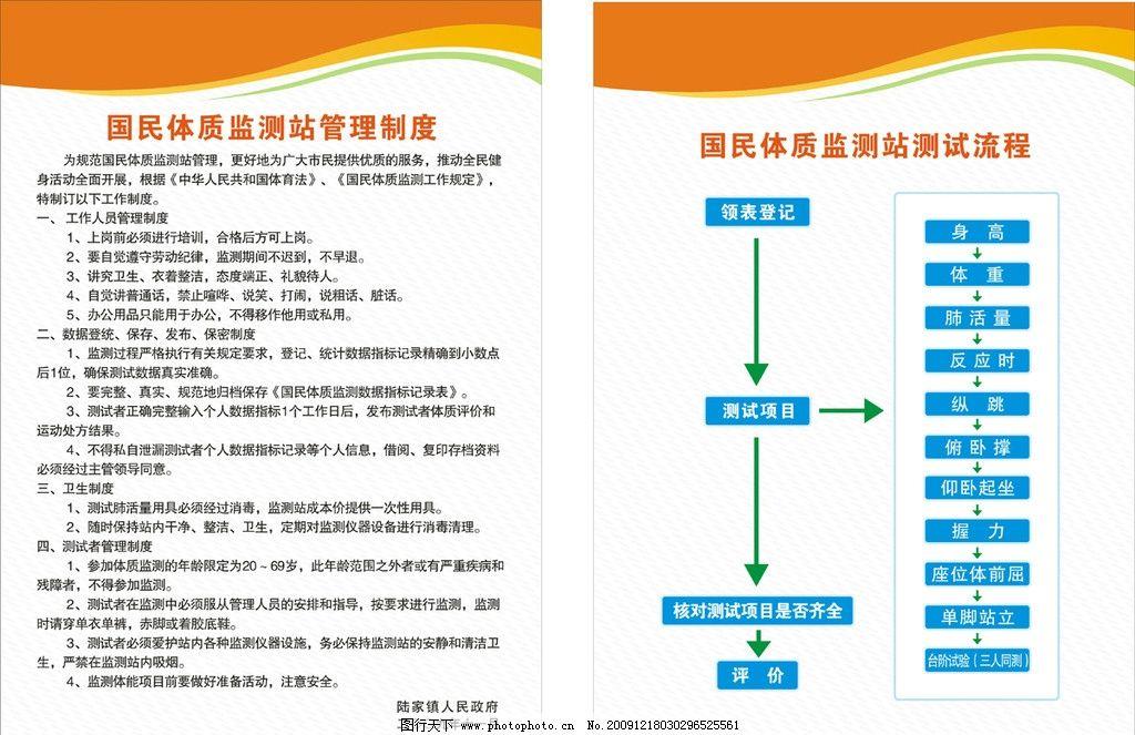 体质监测站管理制度 测试流程图 制度牌 展板 展板模板 广告设计 矢量