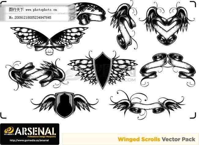 欧式古典图案矢量素材 banner 翅膀 丝带 蝴蝶 盾牌 潮流 矢量图 花纹
