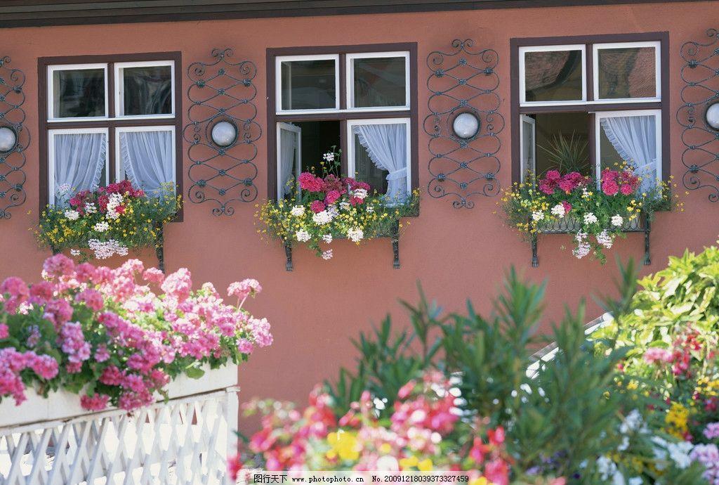 欧洲窗台 欧洲小屋 花园 欧洲民宅 风光 外国 小镇 窗户 花草图片