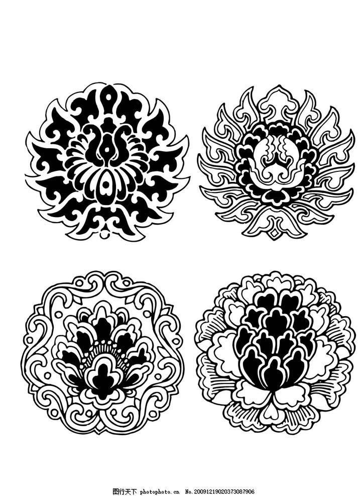 花纹 古代花纹 团花 吉祥团花 边框 古纹 白描 浪漫花纹 花纹图案