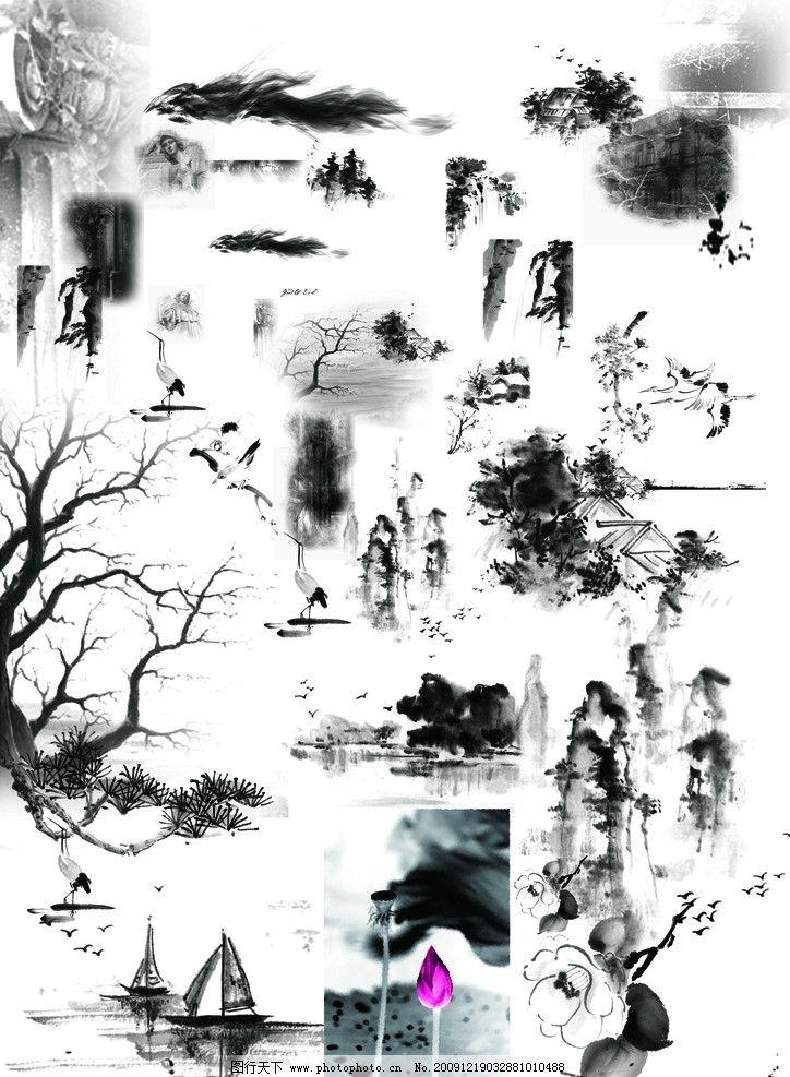 黑色 灰色 景物 动物 植物 古典笔墨 绘画 底纹 暗纹 花纹 风景 psd