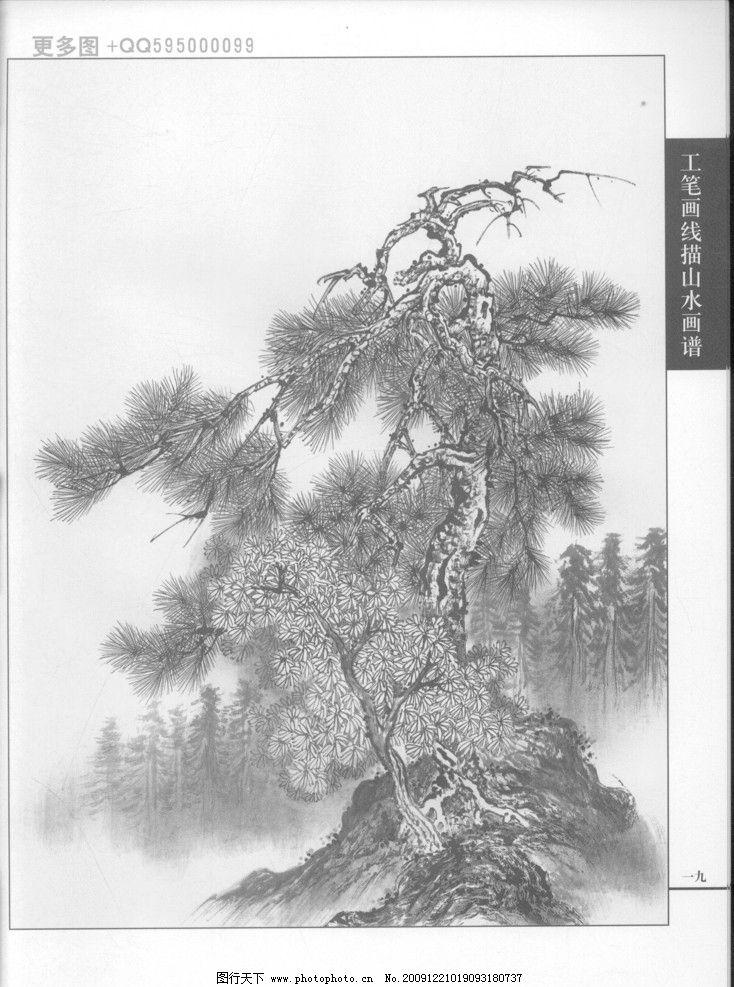 白描 黑白稿 手绘 线描山水 线描树 线描石 线描风景 画谱 绘画 工笔