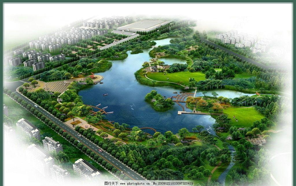 绿地 度假 别墅 环境设计 景观设计 居住区 庭院 木栈道 湖滨 滨水