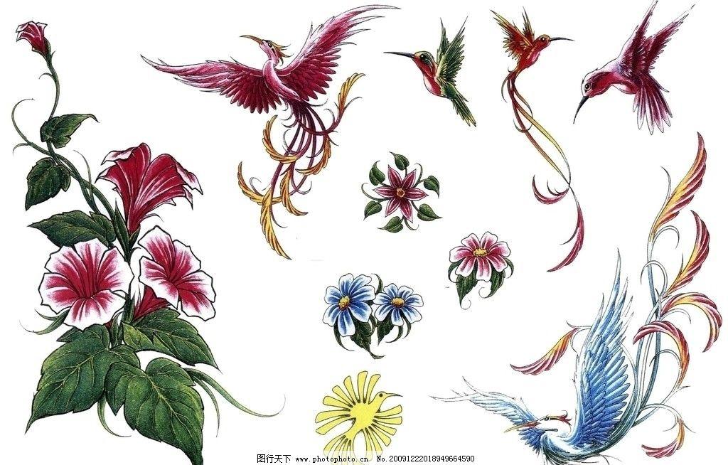 纹身动物花朵图片
