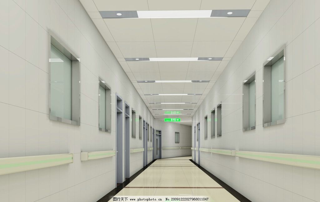 医院 走廊 工装        室内效果图 室内设计 环境设计 设计 72dpi