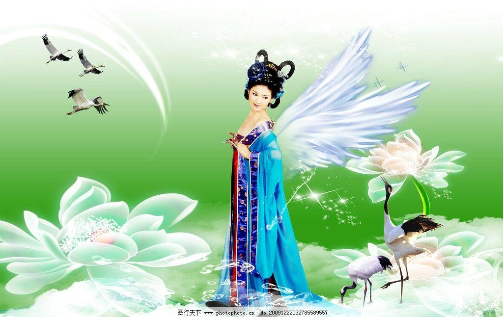 荷花仙子 荷花 鱼 仙鹤 飞鸟 水珠 仙子 背景 透明光束 翅膀 星光