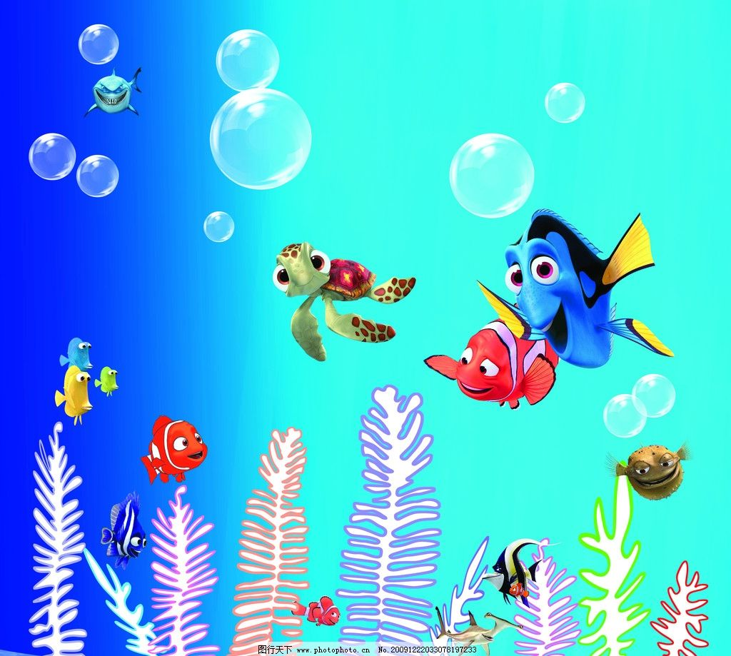 海底 海底动物 珊瑚 泡泡 鱼图片