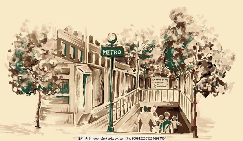 手绘风景 国外建筑 风景 绘画 手绘 素描 速写 水墨 淡彩 画 房子 树