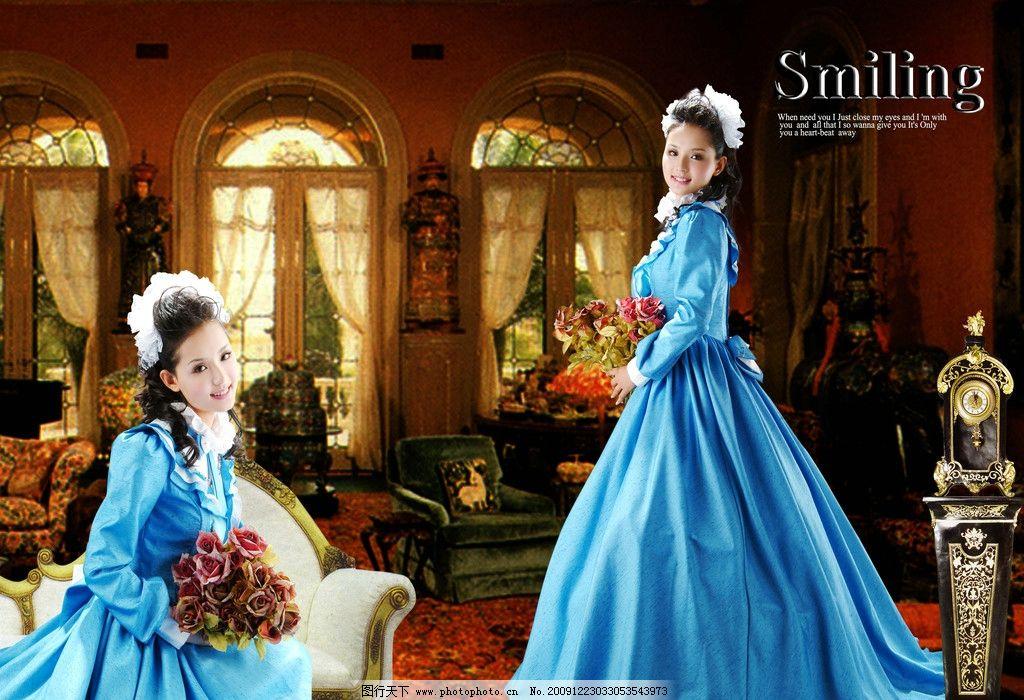 欧式风格图片,古典 蓝色婚纱欧式风格 两个人物图层