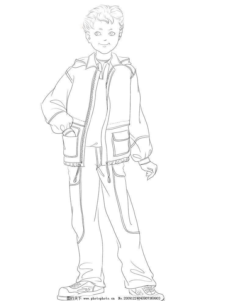 流行服装设计铅笔画男生