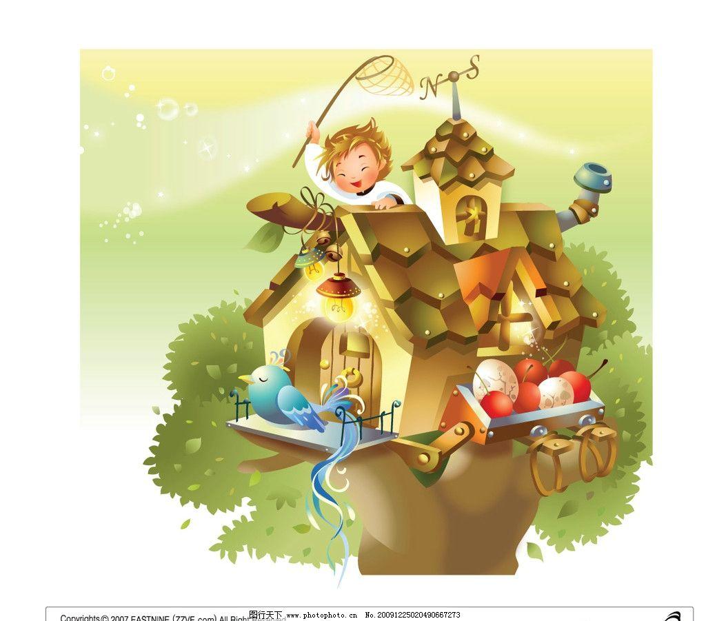 卡通 小房子 矢量树 矢量房子 卡通背景 边框相框 底纹边框 矢量 ai