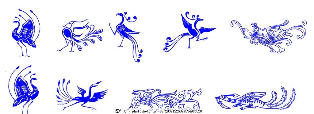 凤凰,矢量凤凰 古典图案 古代凤凰 吉祥图案-图