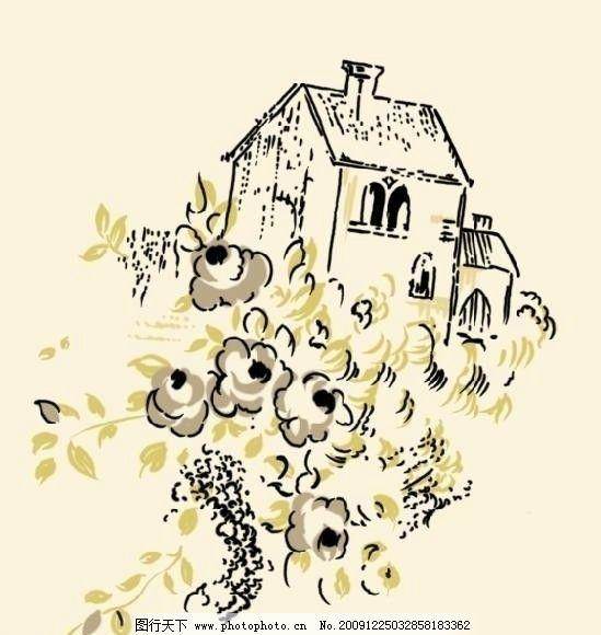 手绘风景 风景 绘画 手绘 素描 速写 水墨 淡彩 画 房子 树 植物 psd