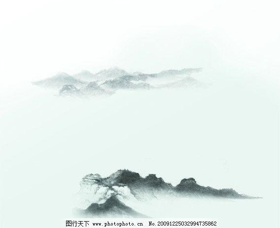 山水风景 背景 泼墨 黑色 海报 淡色 三星手机 高山 源文件