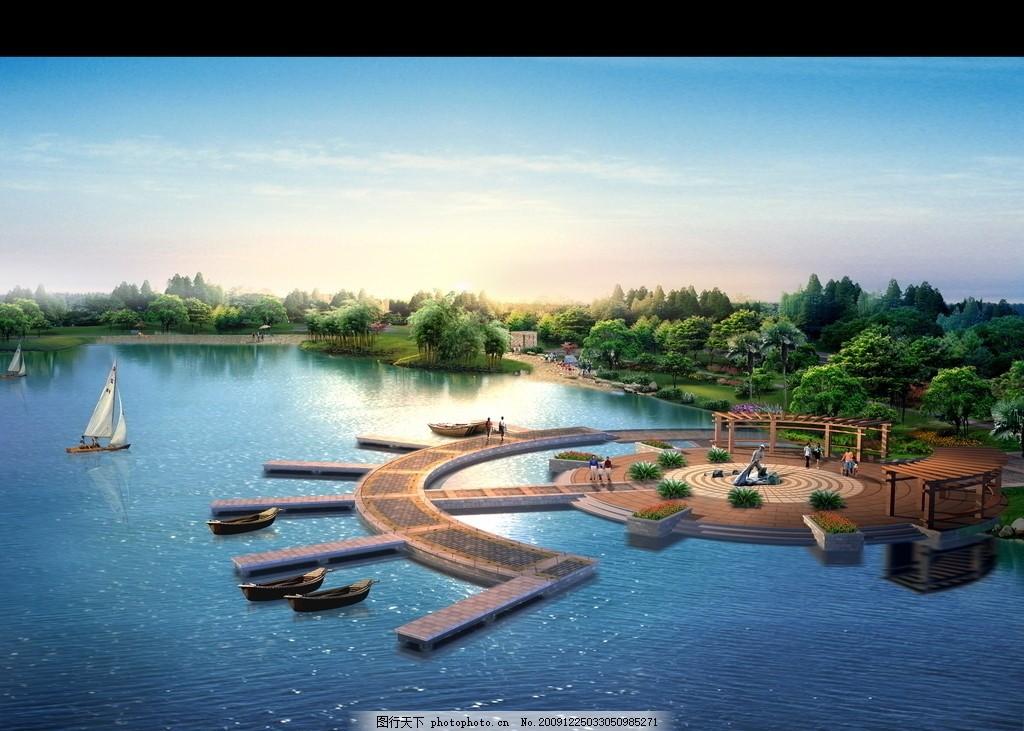 园林设计 小区规划 效果图 景观 湖泊 源文件