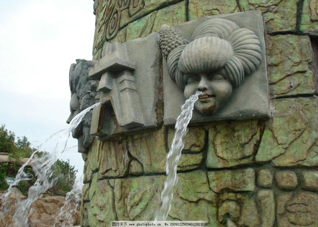 雕塑 喷泉 人像 石雕图片