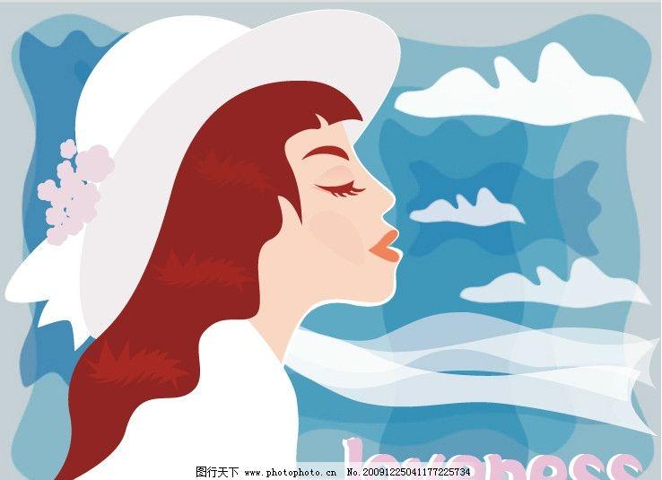 白围巾女孩 矢量女孩 帽子 围巾 情人节 妇女女性 矢量人物 矢量 ai