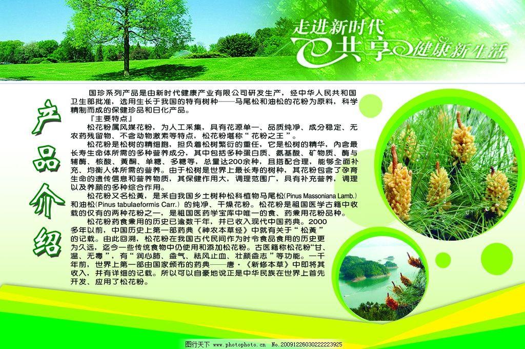 松花粉产品介绍 国珍 松花粉 展板 绿色          展板模板 广告设计