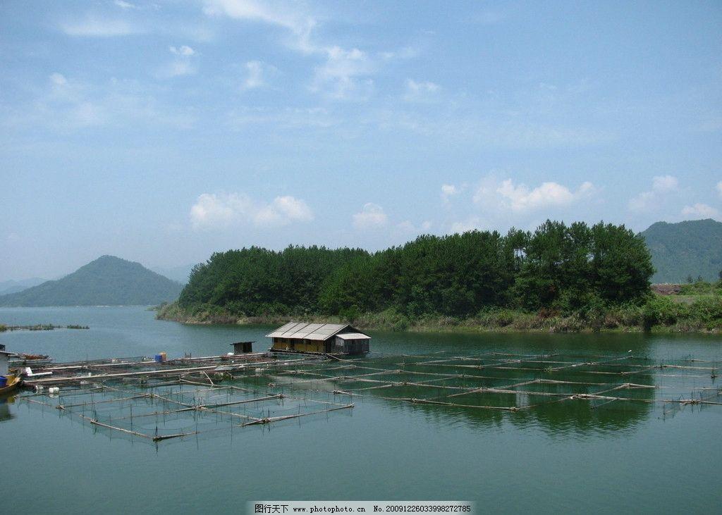 千岛湖 岛屿 鱼排 蓝天白云 国内旅游 摄影