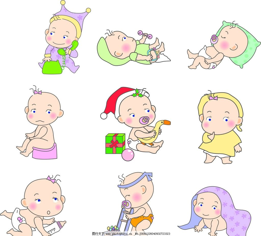 顽皮宝宝 卡通 矢量 可爱 婴儿 儿童 玩具 圣诞 睡觉 儿童幼儿