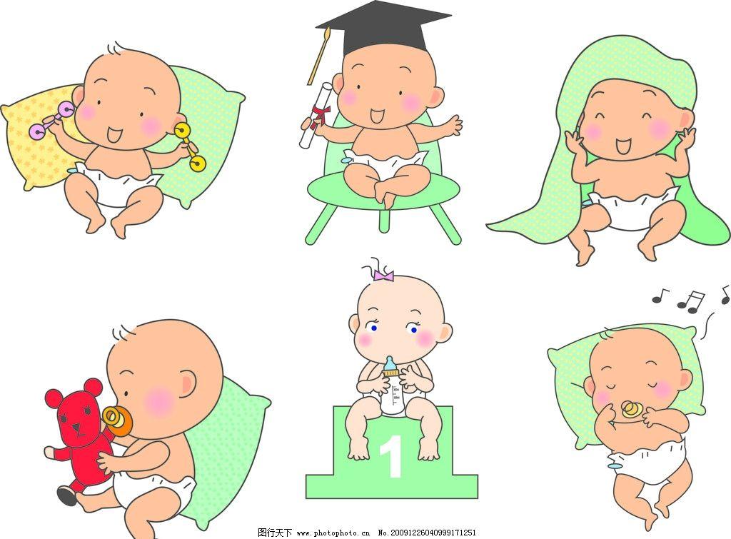 顽皮宝宝 睡觉 卡通 矢量 可爱 宝宝 婴儿 儿童 枕头 玩具 音乐 儿童