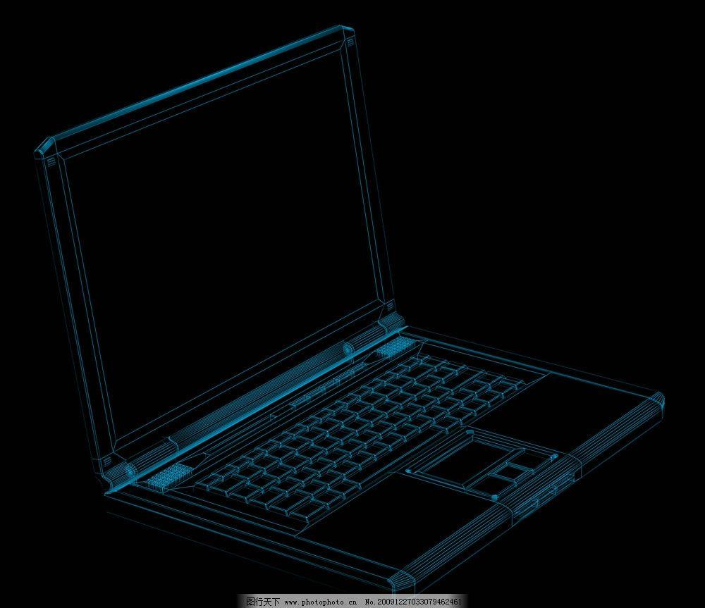 笔记本线框图 笔记本线条 笔记本透视 三维笔记本 源文件