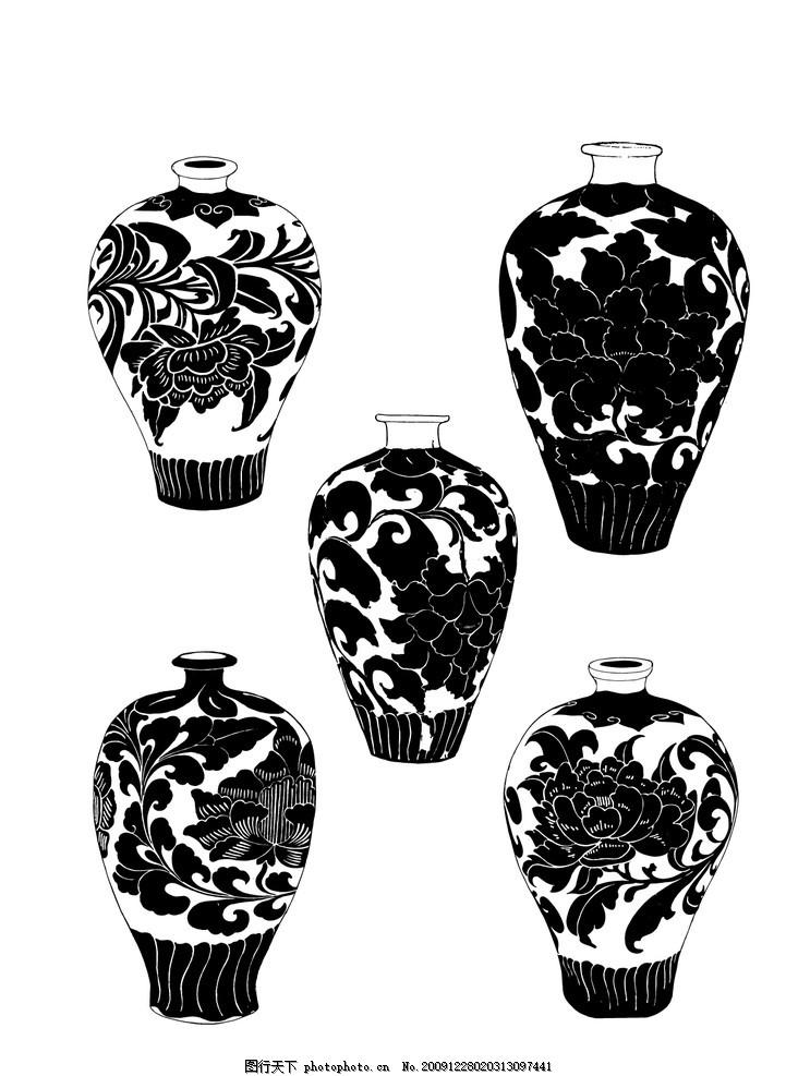 古代陶瓷 花瓶 文化 图案 白描 花纹图案 精美花纹 花边 花纹线条