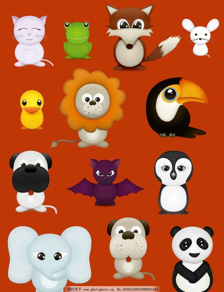 各种各样可爱的动物 动物 熊猫 狐狸 小狗 小鸟 大象 矢量图 图标