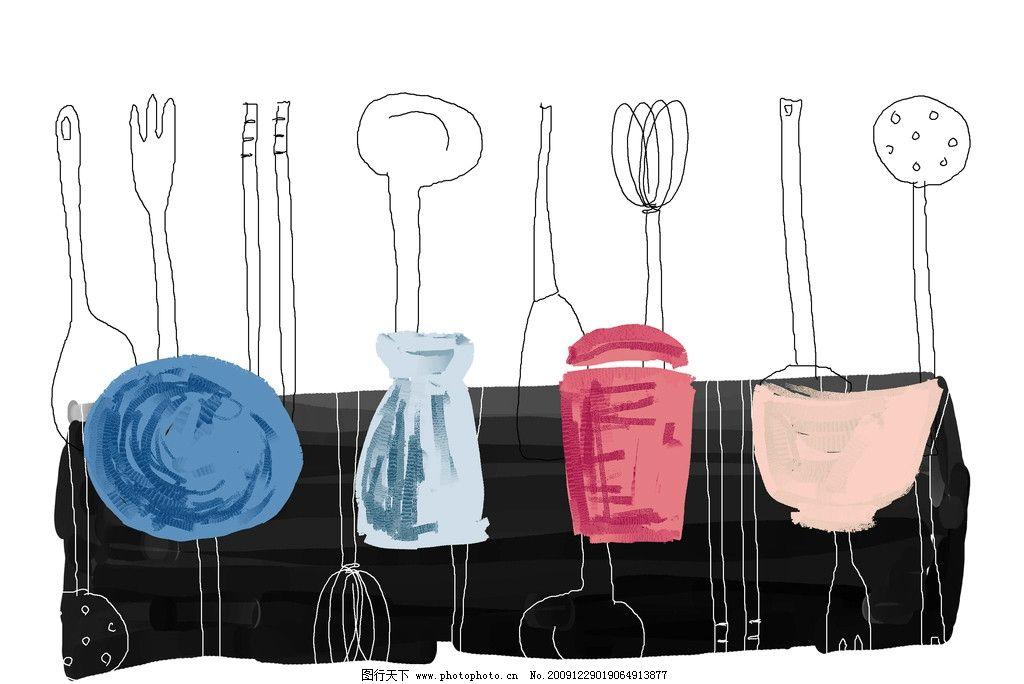 手绘插画 叉子 筷子 餐具