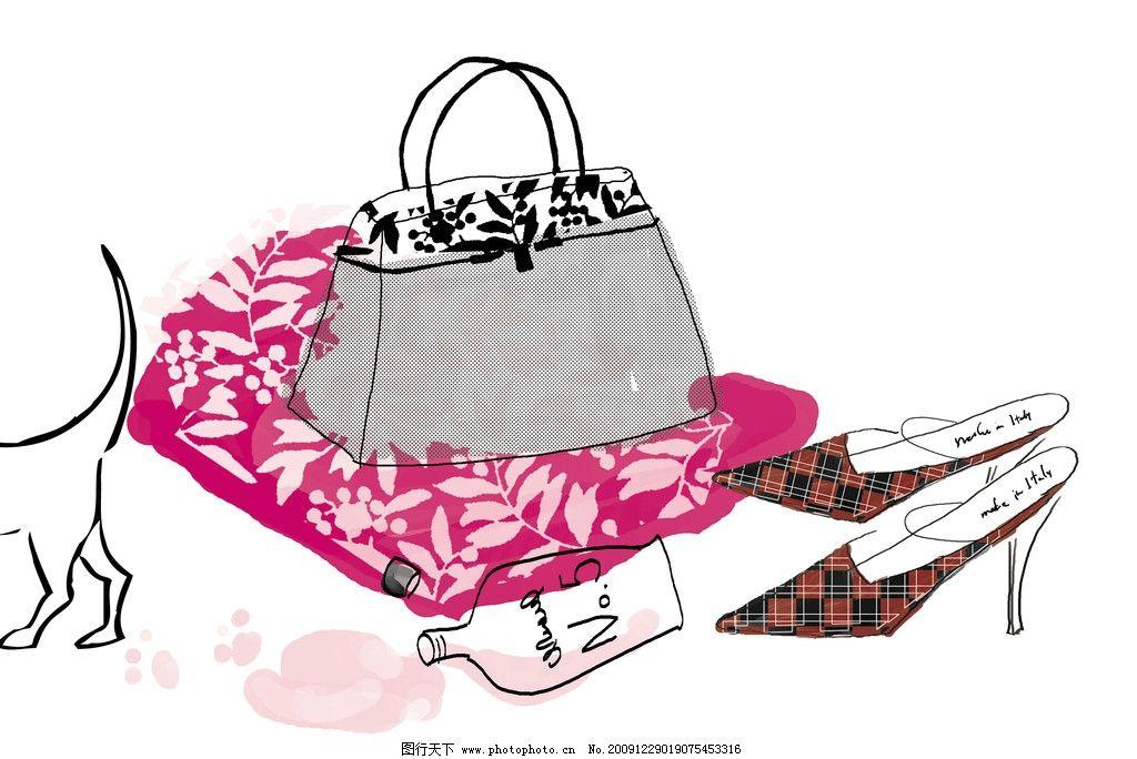 手绘插画 包包 鞋子 美术