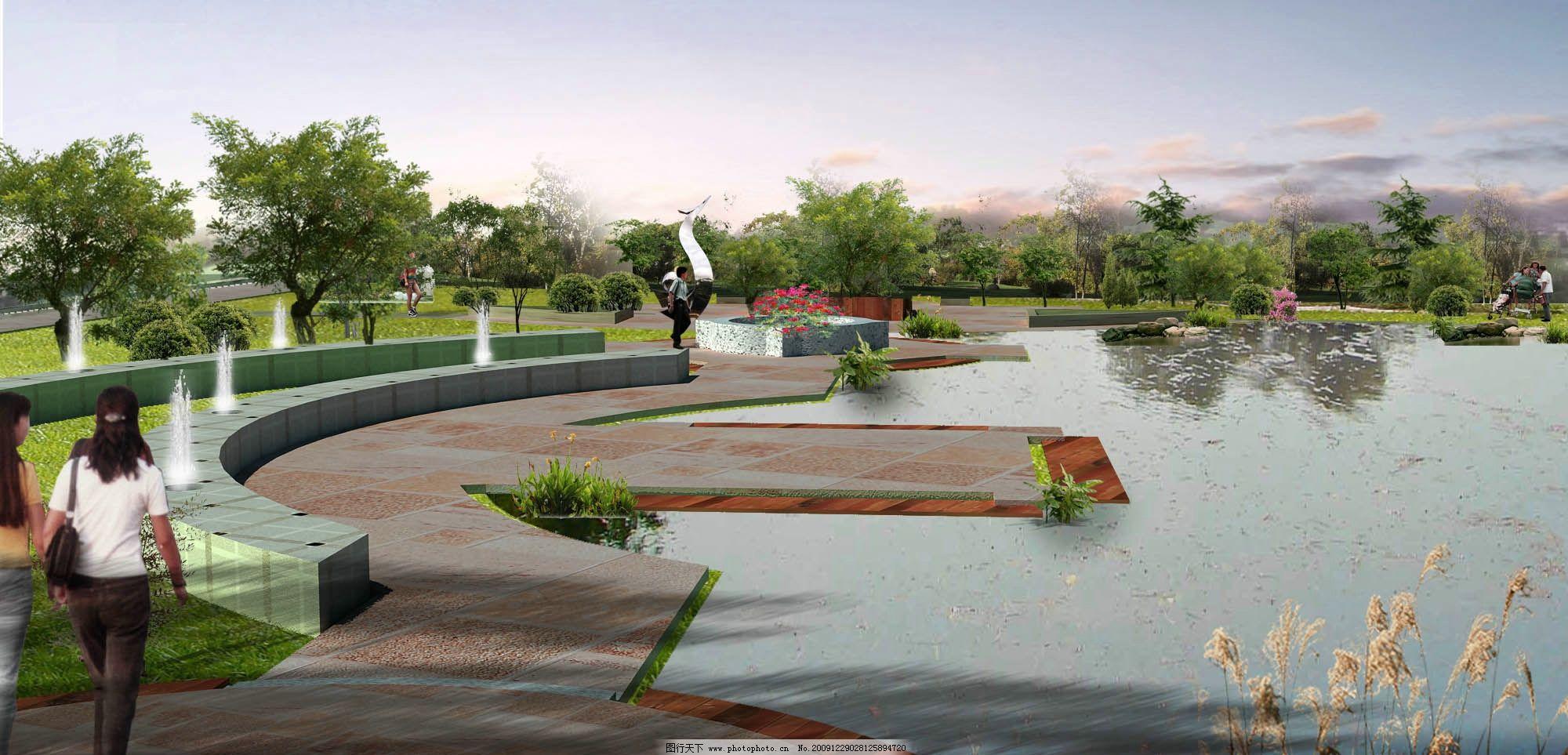 游园ps后期效果图 休闲广场效果图 休闲区域景观规划效果图 休闲空间