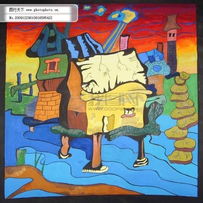 手绘装饰色彩——水上小房子