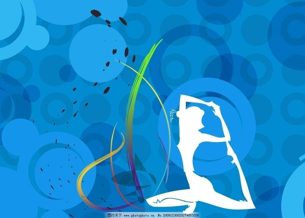 蓝色背景 女人 瑜伽 舞蹈 柔美 曲线 剪影 背景底纹 底纹边框