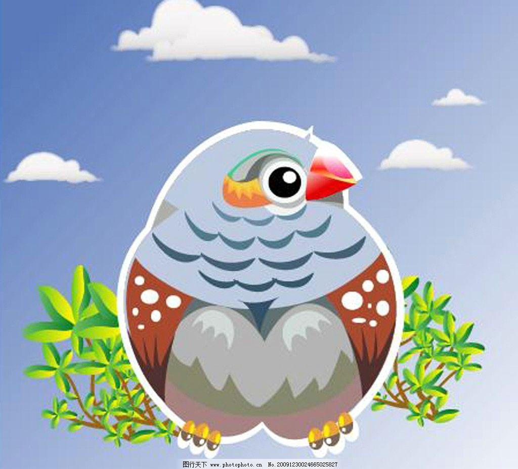 卡通小鸟 小鸟 天空 树叶 云 麻雀 可爱 源文件 鸟类 生物世界 矢量