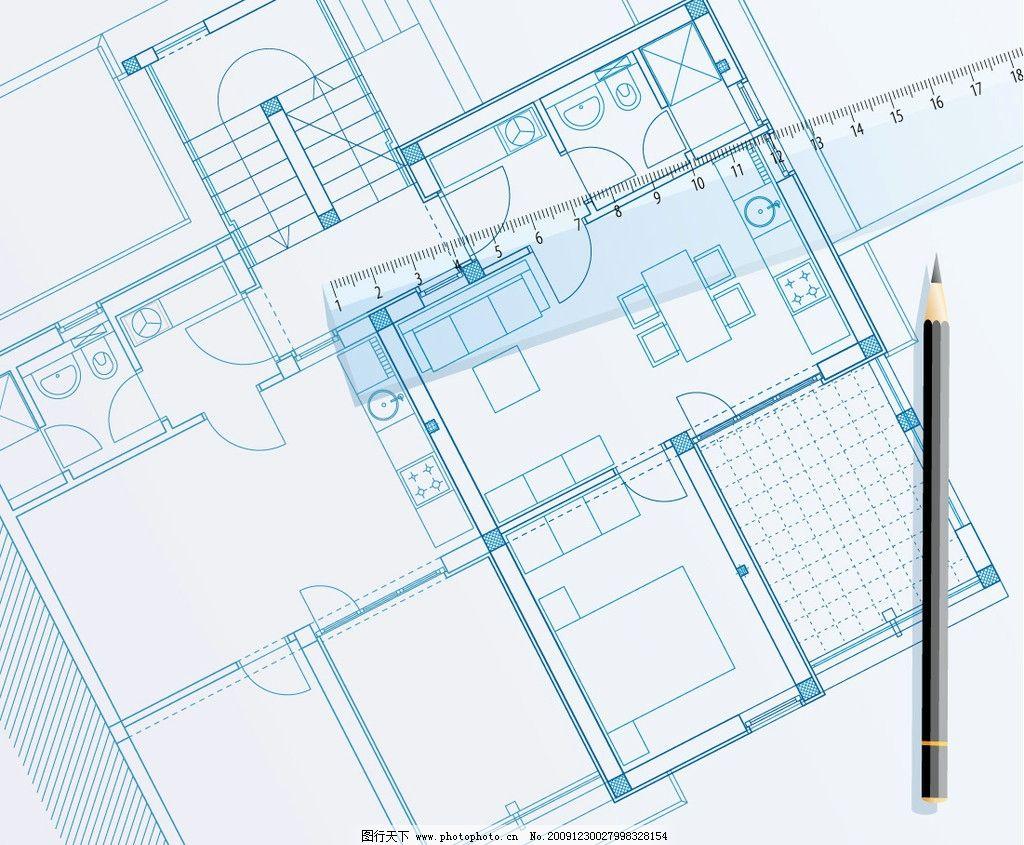 平面设计蓝图 建筑 房子 住 建筑家居 矢量