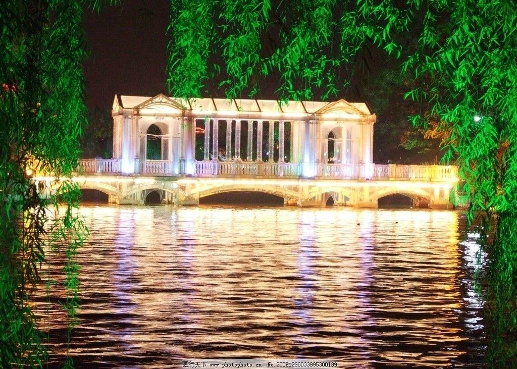 玻璃桥 桂林玻璃桥 两江四湖景区 榕杉湖景区 夜景湖色 非常多彩