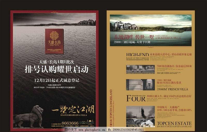 dm宣传单 dm 宣传单 海报 夹报 房地产 欧式 江湖 大气 别墅 湖面