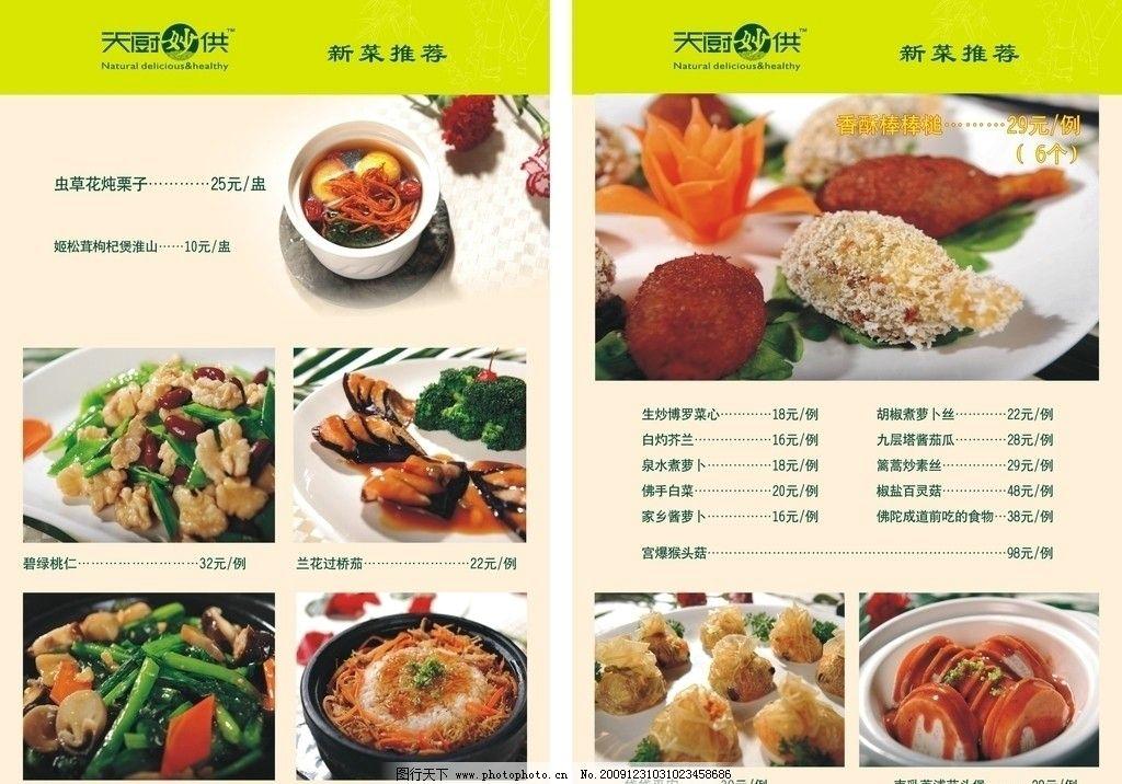 菜谱单页 新菜推荐 素材 其他设计 广告设计 矢量 cdr