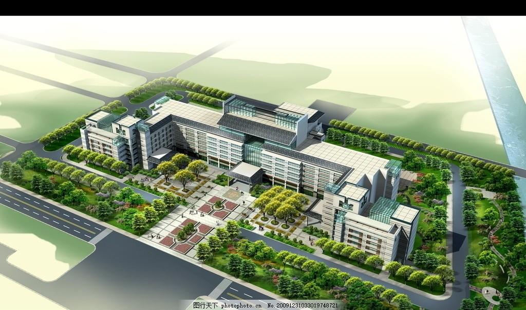 景观效果图 鸟瞰图,公园 建筑 休闲广场 绿化 绿地-图