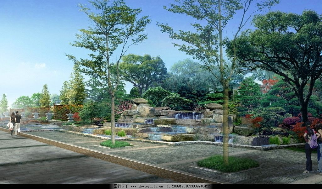 景观效果图 公园 建筑 休闲 广场 绿化 景观 绿地 度假 别墅