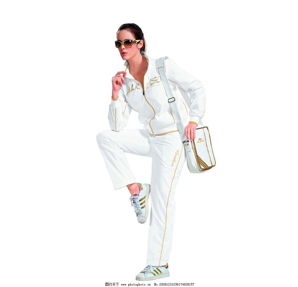 服饰模特 白色女装 休闲装 服装模特 职业人物 人物图库 摄影 350dpi