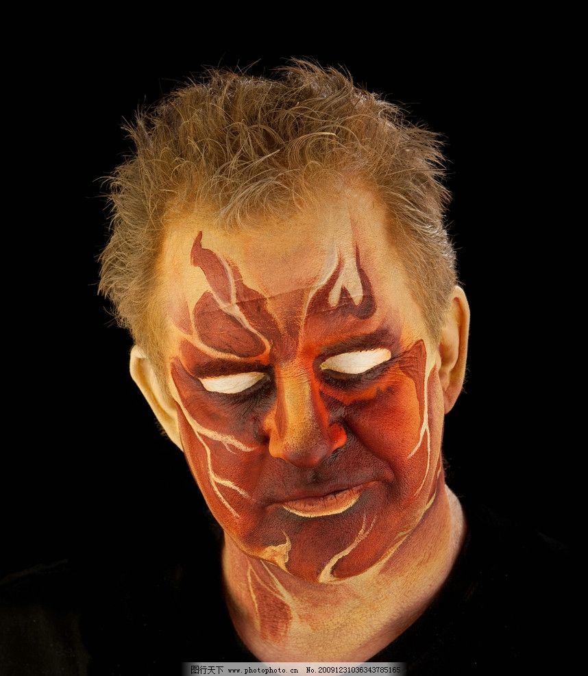 鬼脸 艺术 彩绘 人物 脸 非主流 恐怖图片